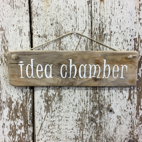 idea chamber funny bathroom sign reclaimed wood handpainted in black