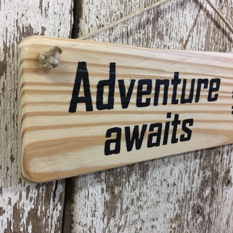 Adventure Awaits Boot Prints Reclaimed Wood Sign
