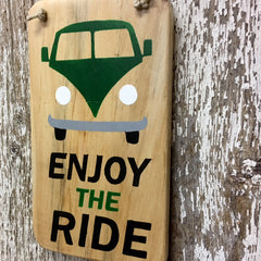 volkswagen bus sign hippie bus enjoy the ride sign in green