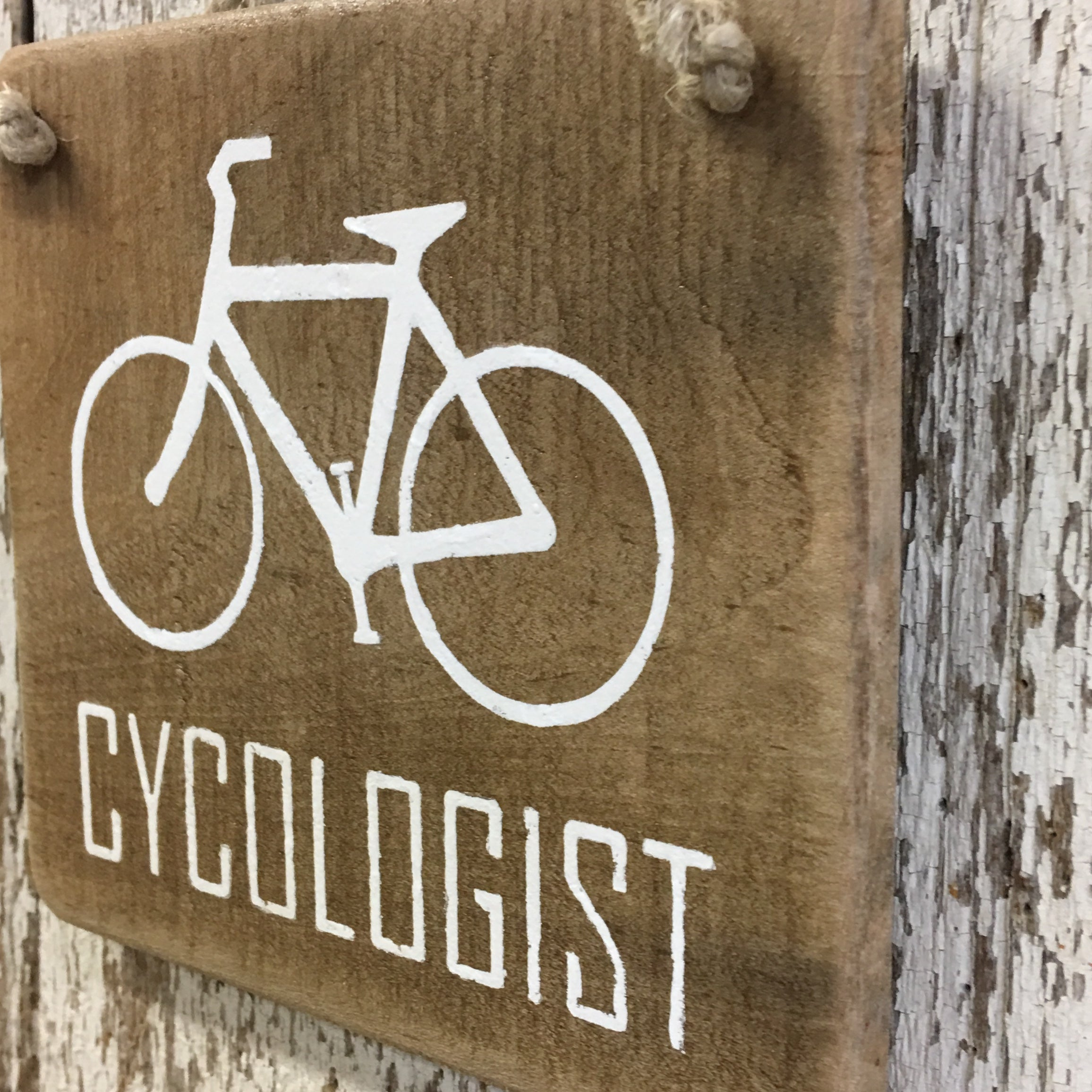 Cycologist Bike Reclaimed Wood Sign
