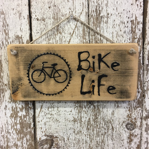 Bike Life Cycling Life is Good Bicycle Sign Rustic Wood Sign Hand Painted