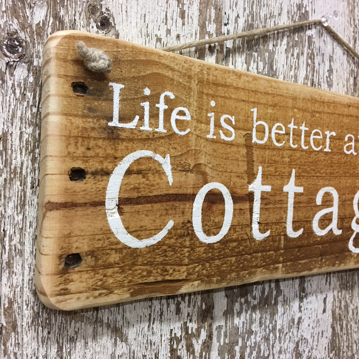 Cottage Sign With Trees Reclaimed Wood Sign