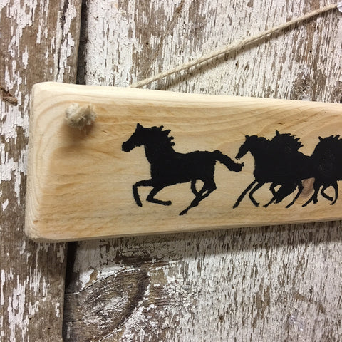 gifts for horse lovers running horses sign reclaimed wood