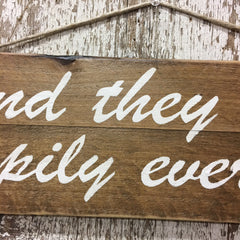 wedding decor rustic unique gift happily ever after sign