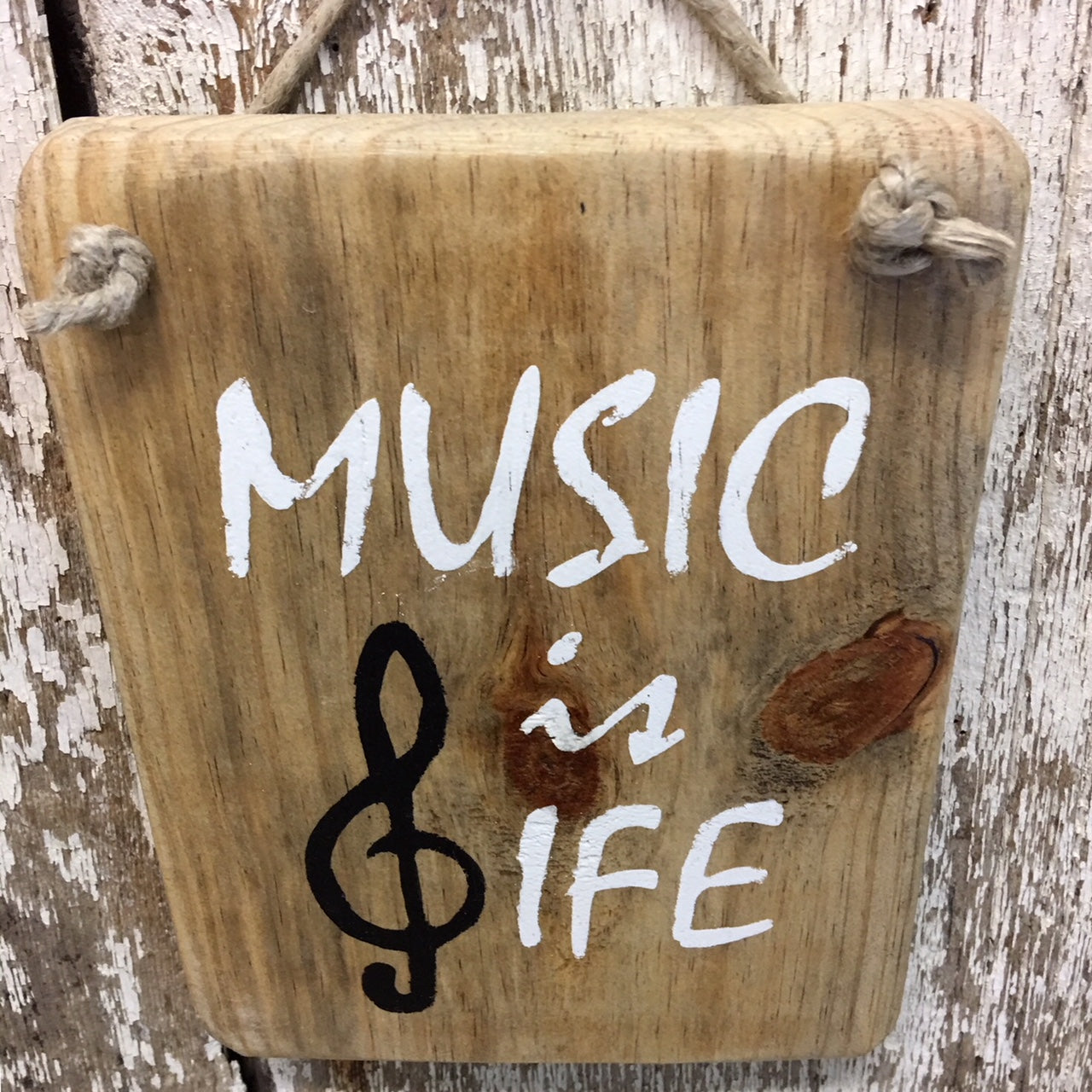 Music is Life Reclaimed Wood Sign