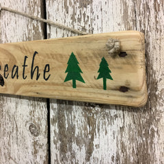 best gifts for outdoor lover and couples just breathe trees wood sign