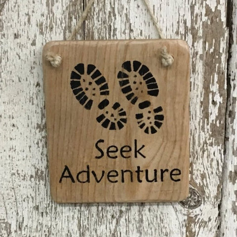 Adventure sign hiking sign explore sign from reclaimed wood