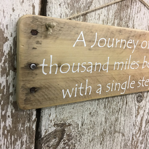 journey of a thousand miles hiking sign on reclaimed wood hand painted