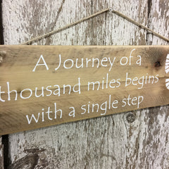 hiking decor journey of a thousand miles thru hiker sign gift idea