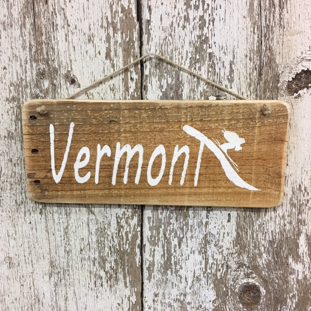 vermont decor vermont ski sign ski vermont wood sign blue white