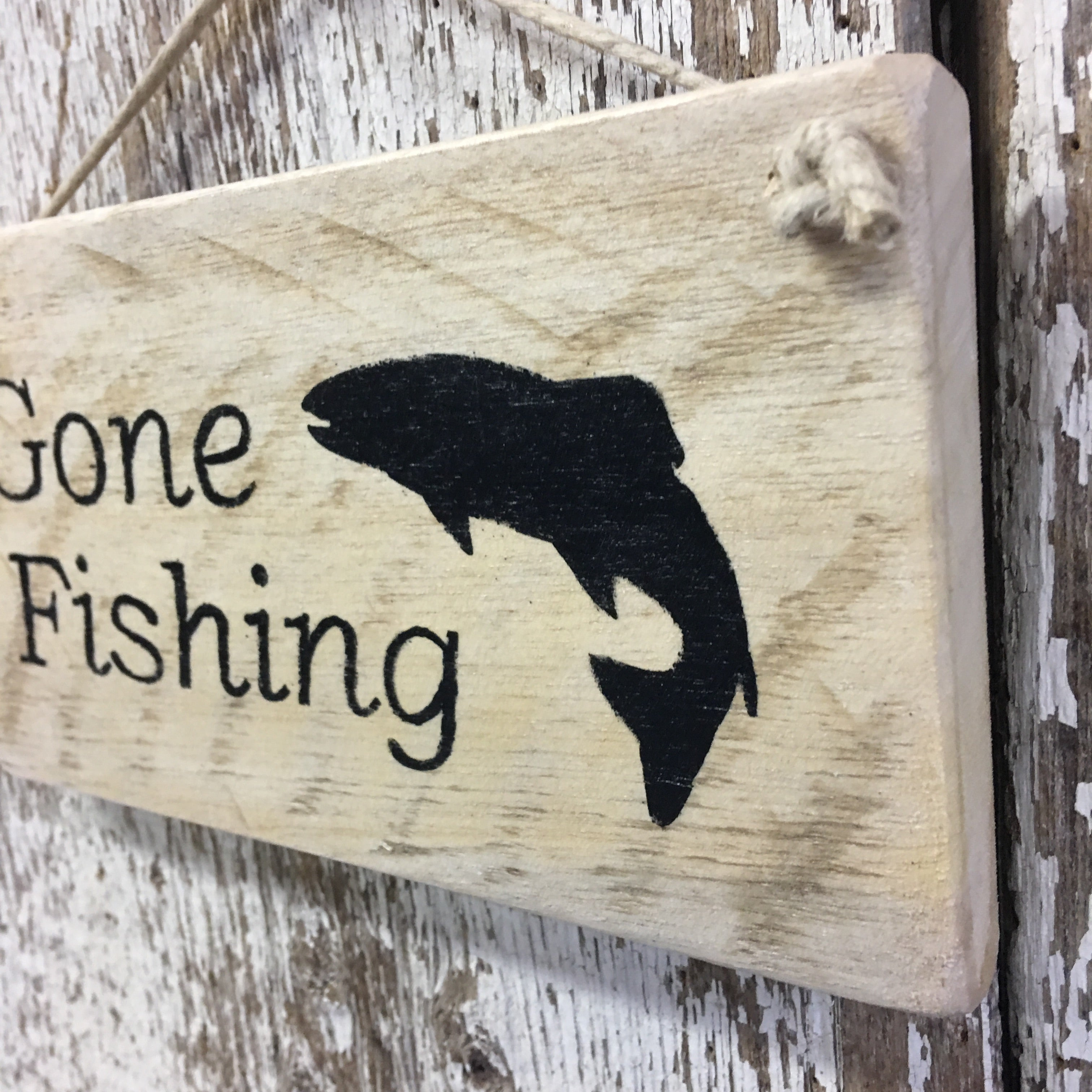 Gone Fishing Reclaimed Wood Sign