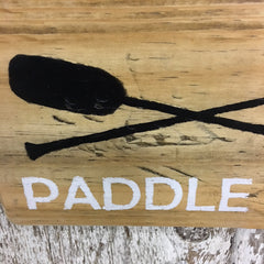 boat sign row boating canoeing canoe paddle sign on reclaimed wood