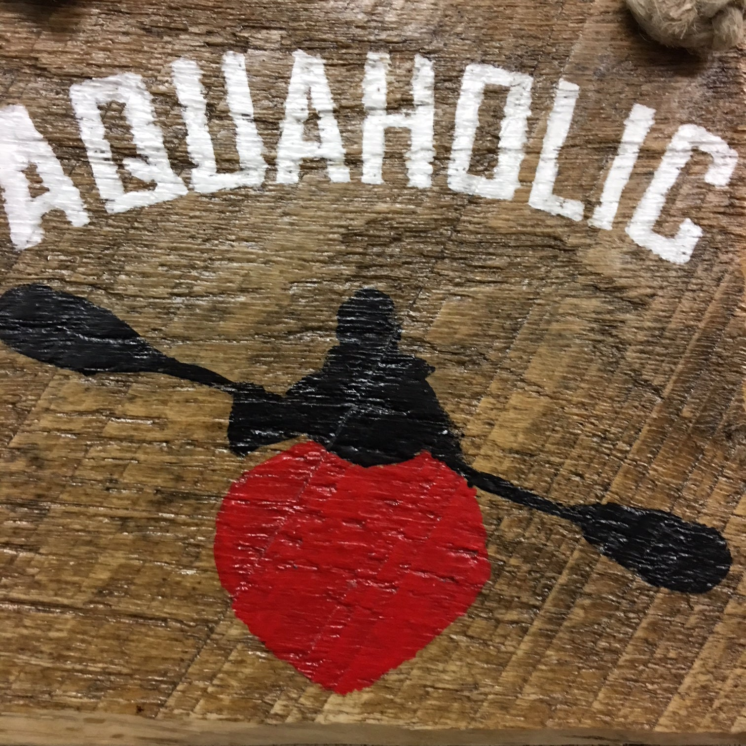 aquaholic kayak wood sign reclaimed wood hand painted