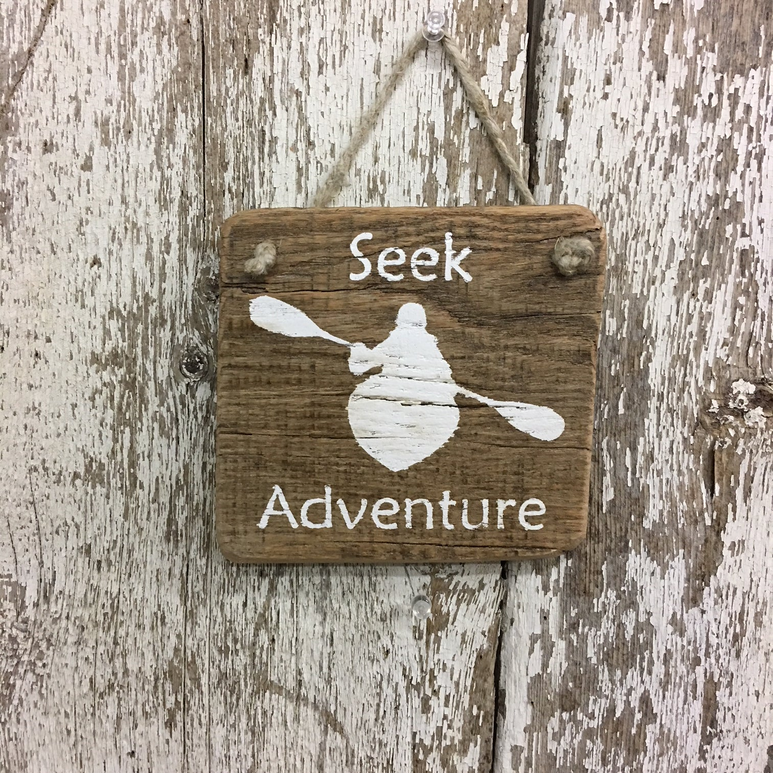 Seek Adventure Kayak Reclaimed Wood Sign