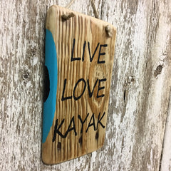gift for kaykers kayak lovers decor live love kayak wood sign
