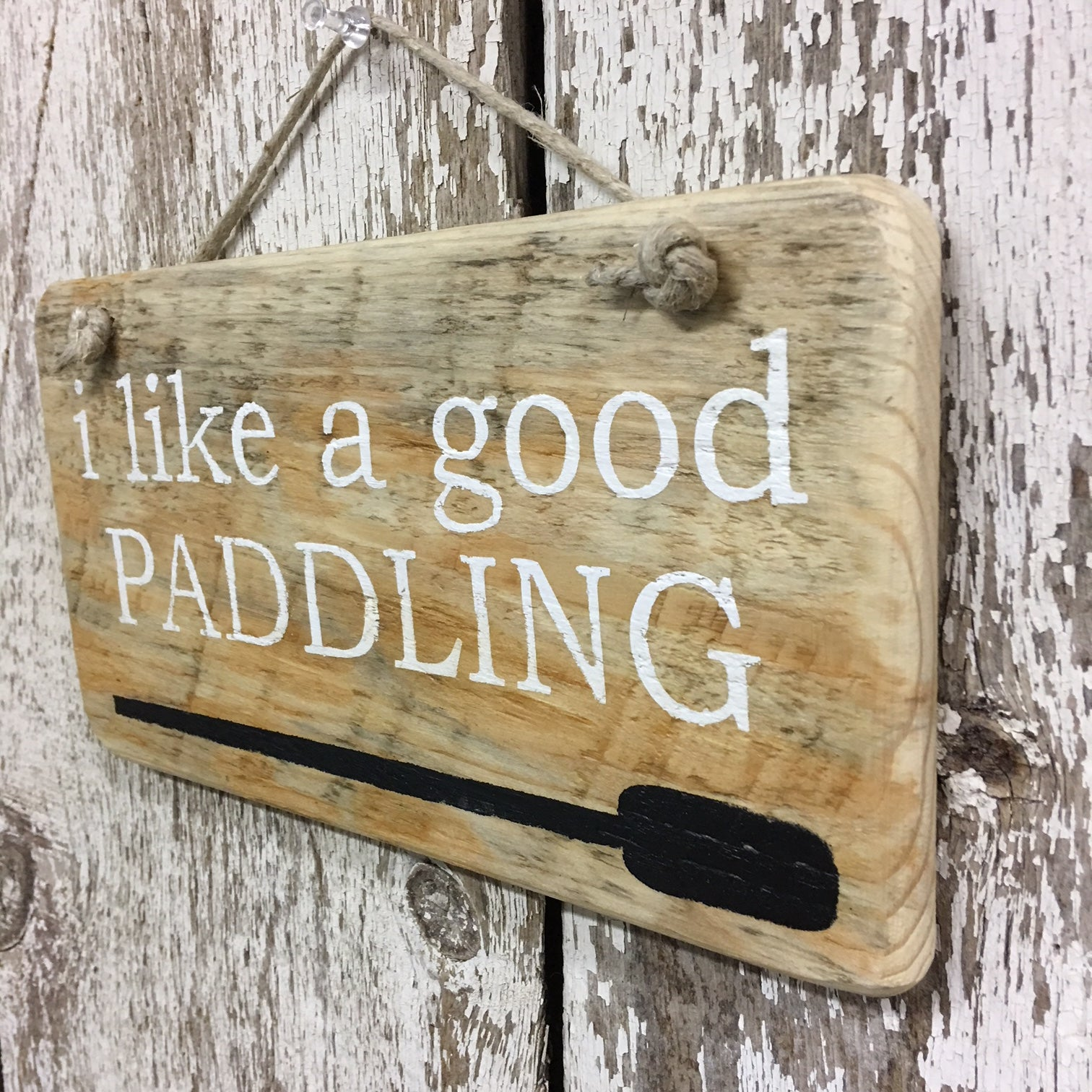 good paddling canoe wood sign made from reclaimed wood