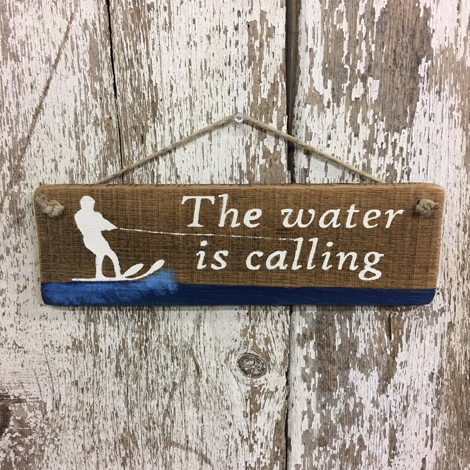 gift for water skiing slalom skiing the water is calling wood sign