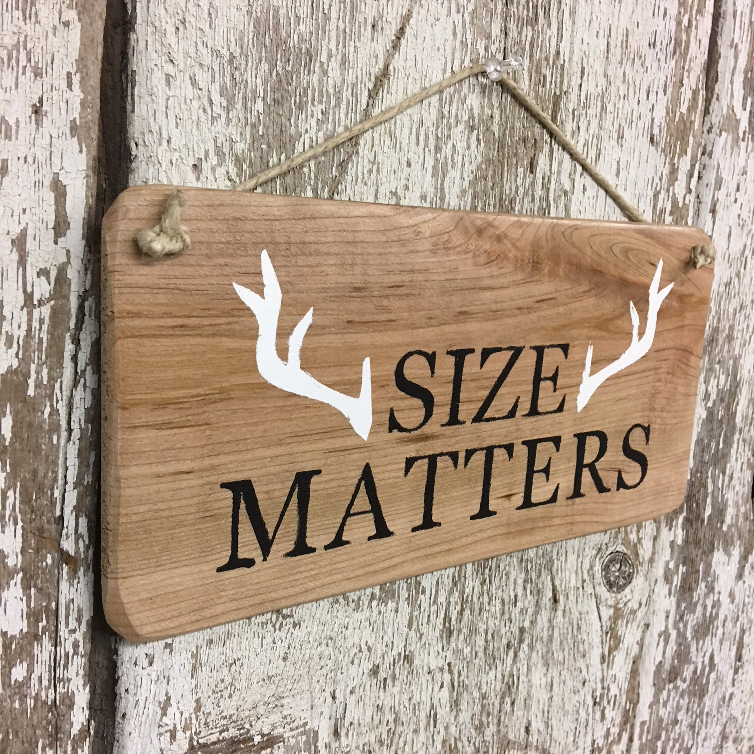 funny hunting signs deer decor size matters reclaimed wood sign