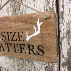 gifts for deer hunters funny signs size matter deer wall decor sign