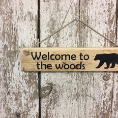 black bear cabin decor wooden hanging signs hand painted