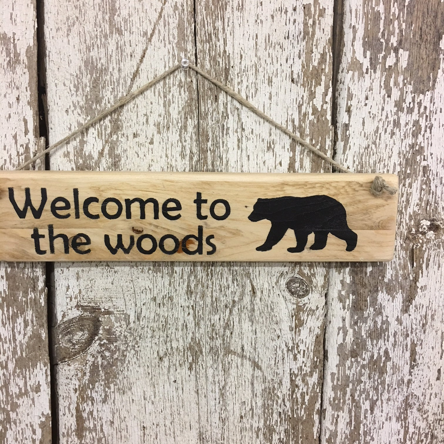 black bear sign on reclaimed wood welcome cabin lodge decor gift