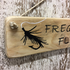 fishing sign for fly fisherman frequent flier reclaimed wood sign