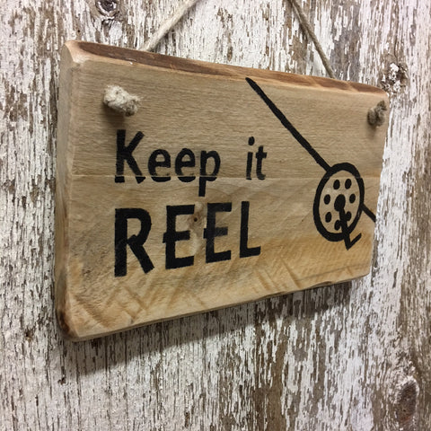 fishing wall decor keep in reel fishing sign hand painted wood