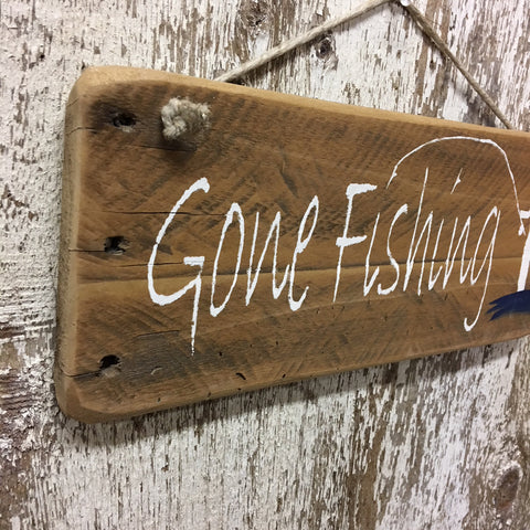 gone fishing wood sign made from reclaimed wood with fish