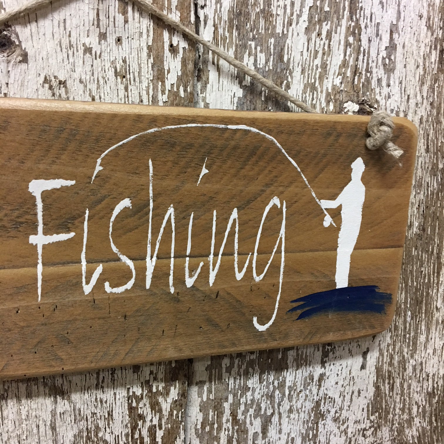 fish life fly fishing wood sign gone fishing fisherman in water
