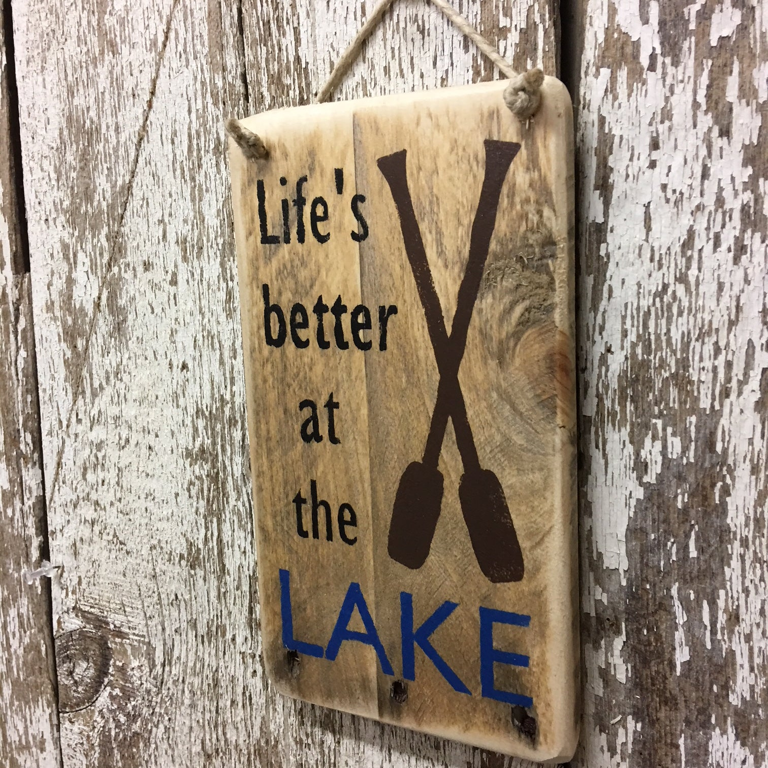 Life is better at the LAKE hand painted lake house decor gift ideas