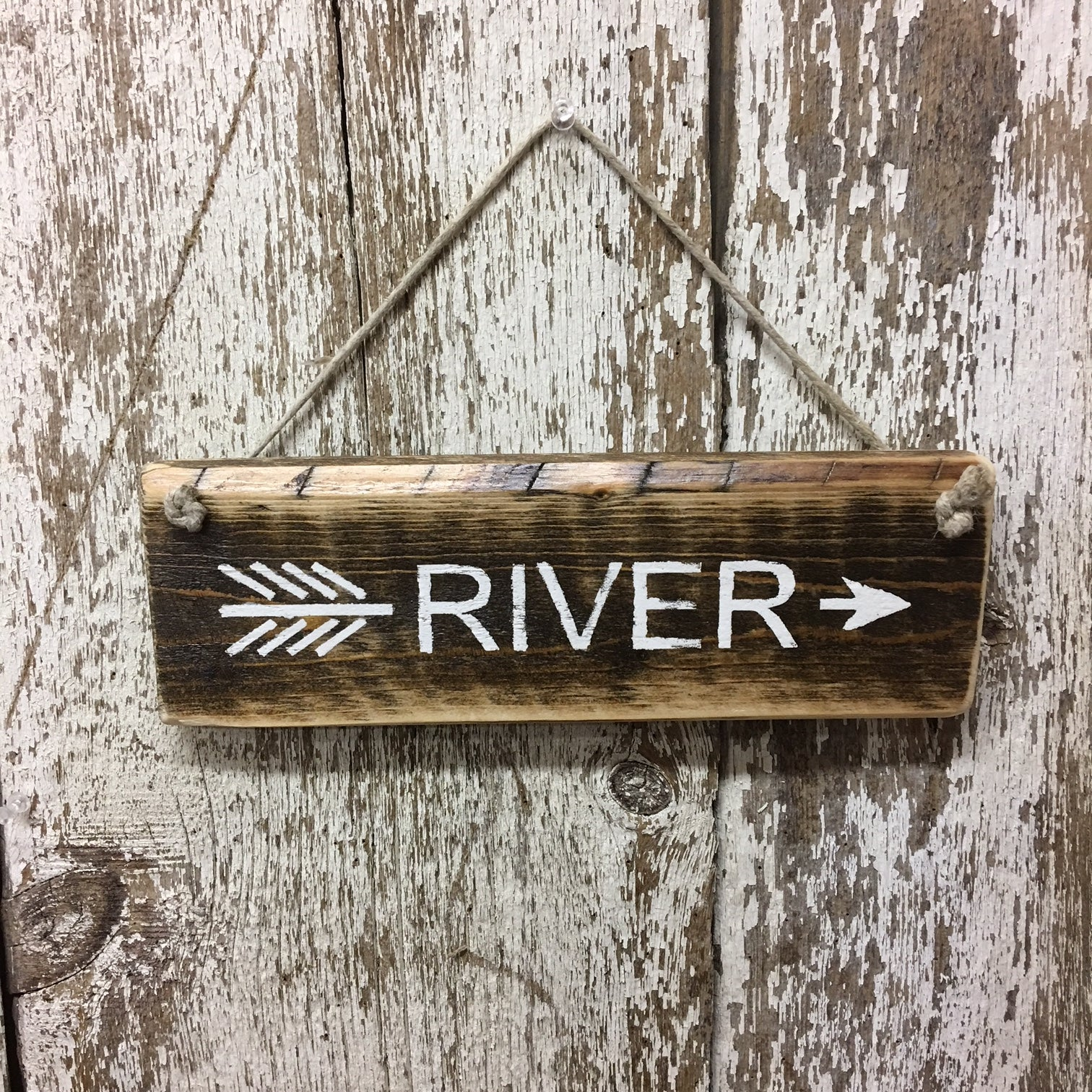 river life river arrow sign hand painted reclaimed wooden signs