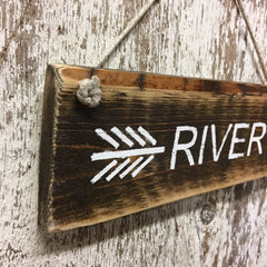 river living home decor river time arrow wood sign hand painted