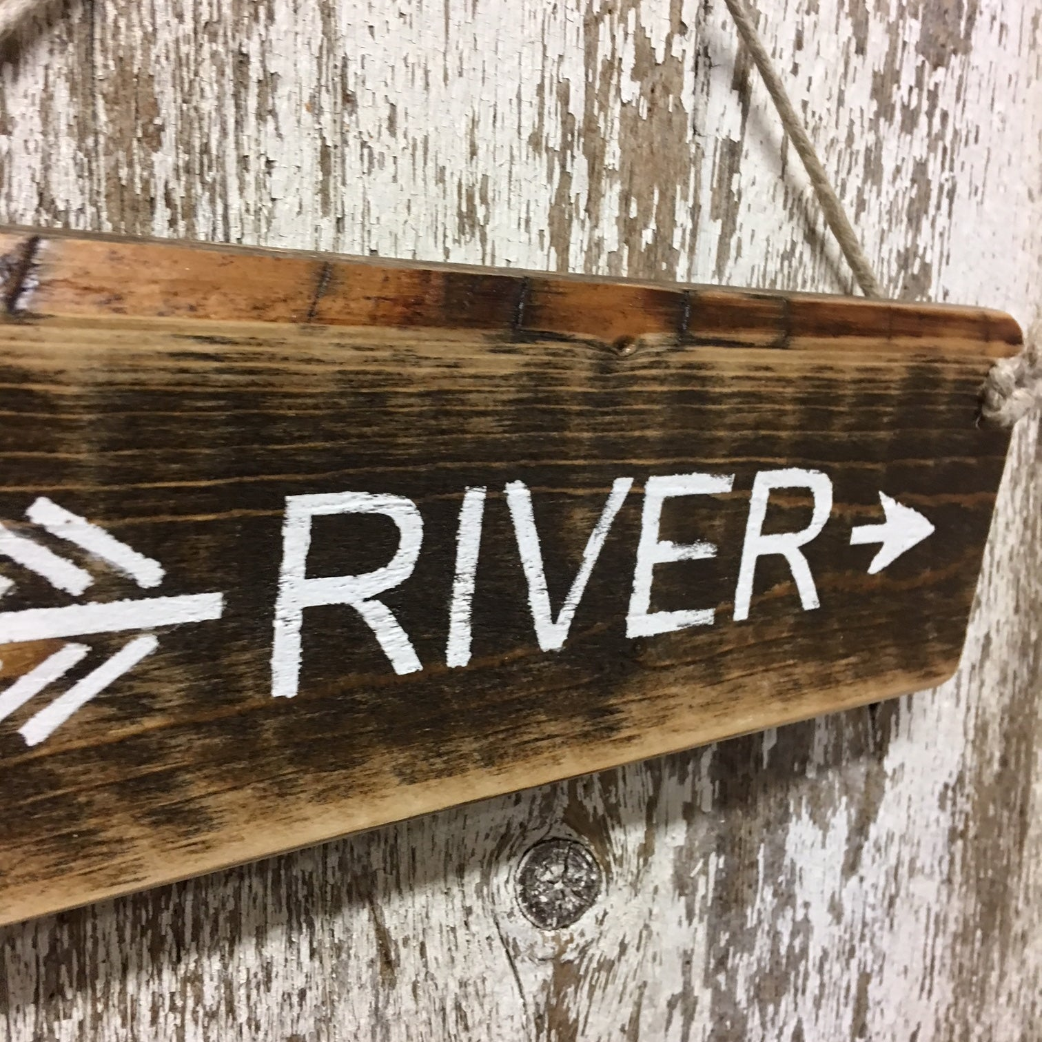 river house decor and river life gift ideas on river arrow wood sign
