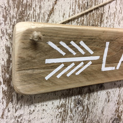 arrow sign for lake hand painted white lake like signs wood sign