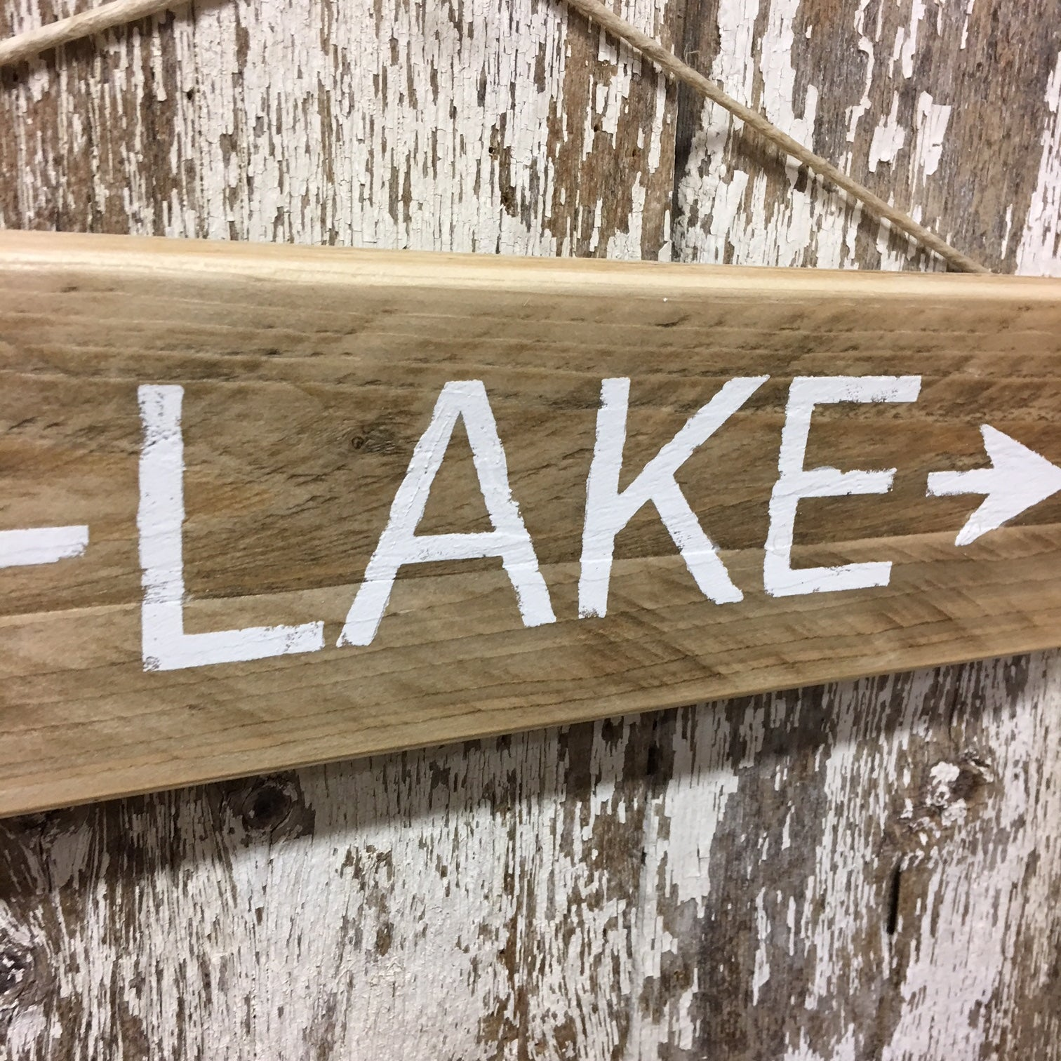 lake life decor wooden sign lake arrow direction sign white