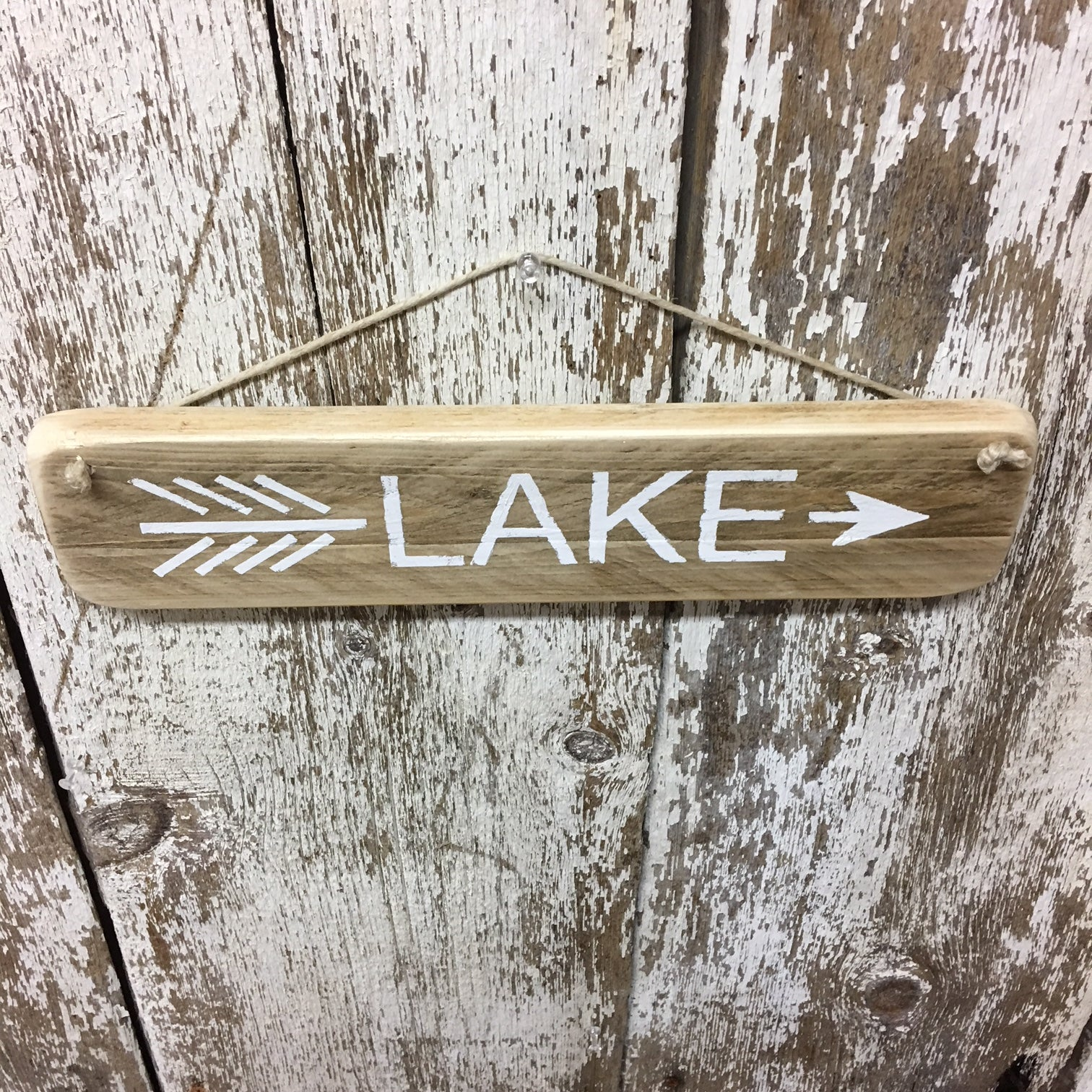 lake house decor lake house sign arrow gift idea