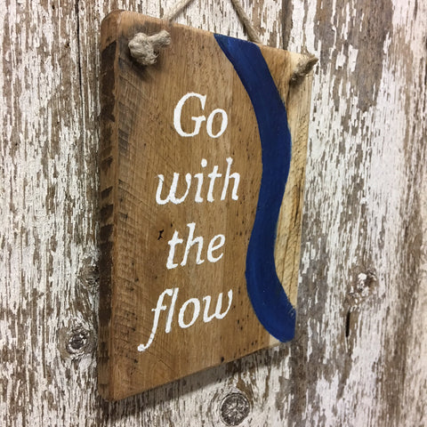 go with the flow yoga peach tranquility sign from reclaimed wood