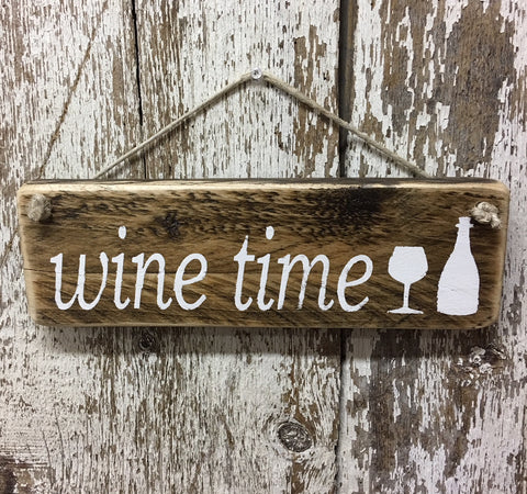 wine time handpainted reclaimed wood sign with wine goblet and wine bottle painted white