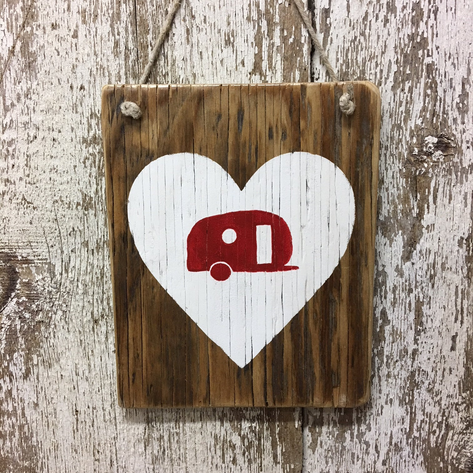 I love camping gift ideas camper surrounded by a heart wood sign