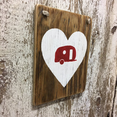 family camping sign of love camper heart from reclaimed wood