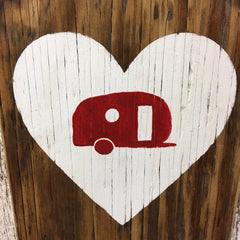 happy camper sign made from reclaimed wood heart with camper
