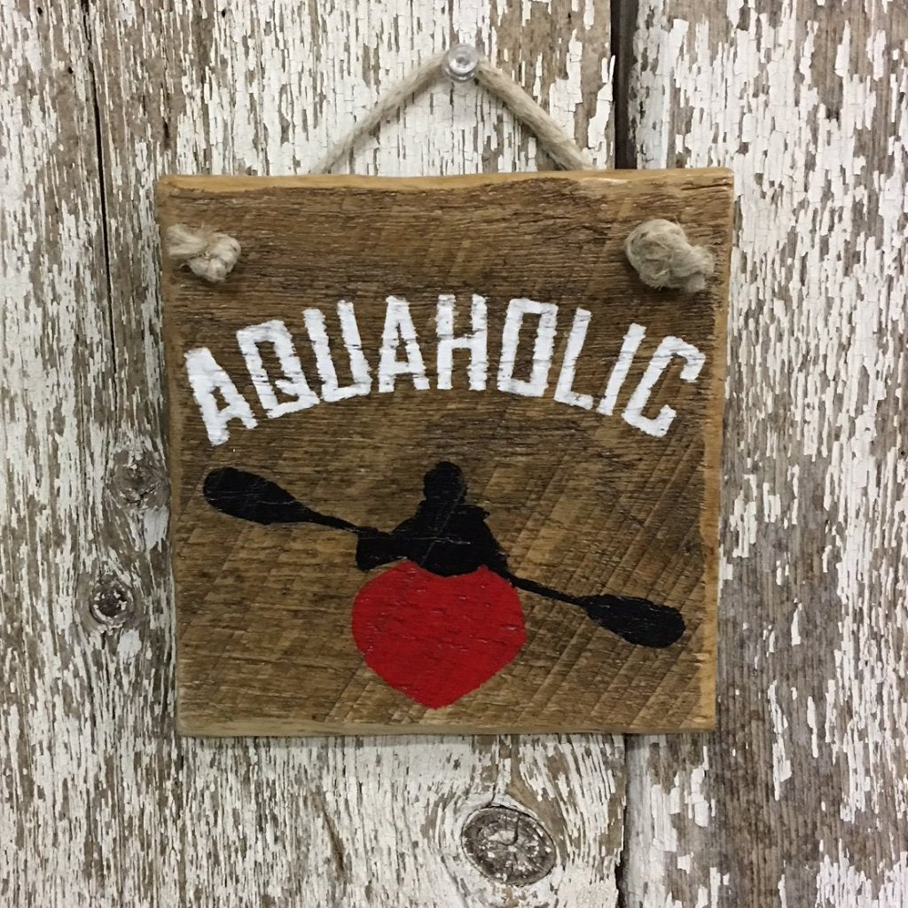Aquaholic Kayaking Wood Sign Kayak Gifts Kayak Lovers