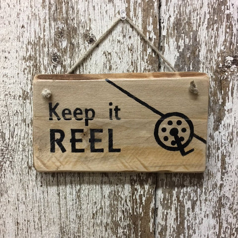 Fishing Gifts Keep it Reel Fishing Hanging Reclaimed Wood Sign