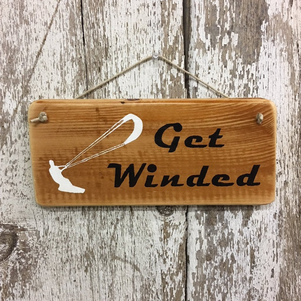 Kite boarding Wake boarding Sign Get Winded for gift decor