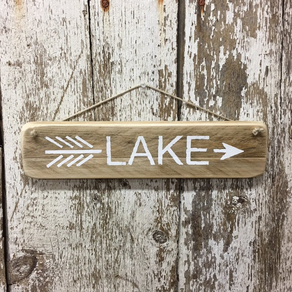 lake sign lake arrow sign direction wood sign hand painted white