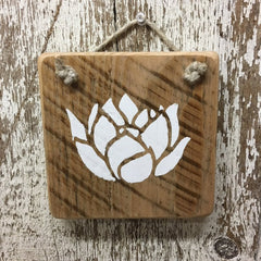 Lotus Flower wood sign hand painted in white enlightenment rebirth