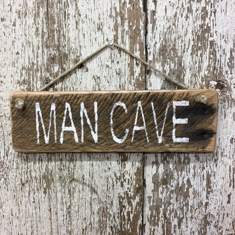 man cave sign reclaimed wood sign hand painted  gift for him