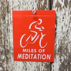 miles of meditation cycling sticker orange and white vinyl