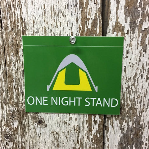 Tent Camping Decal One Night Stand Green Yellow Gray and White