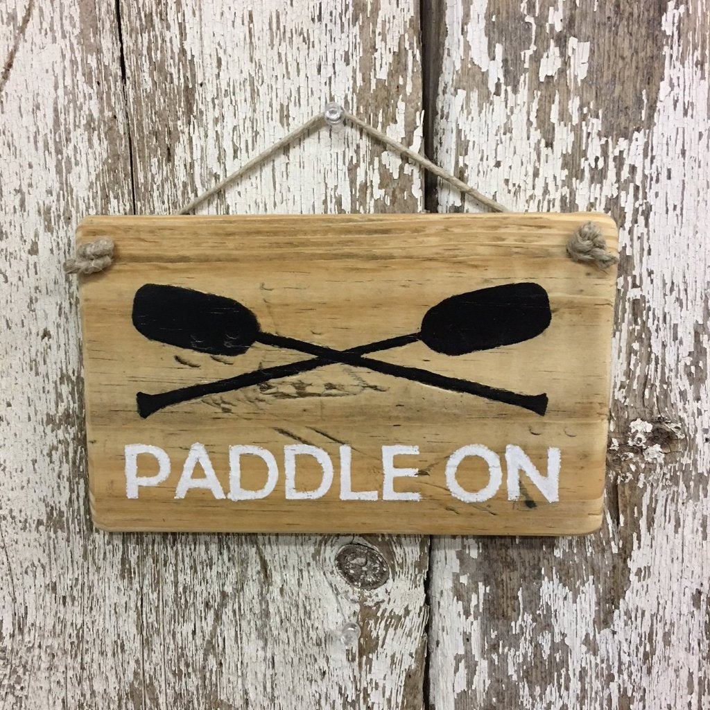 Paddle On Sign Two boat paddles rowboat canoe boating sign